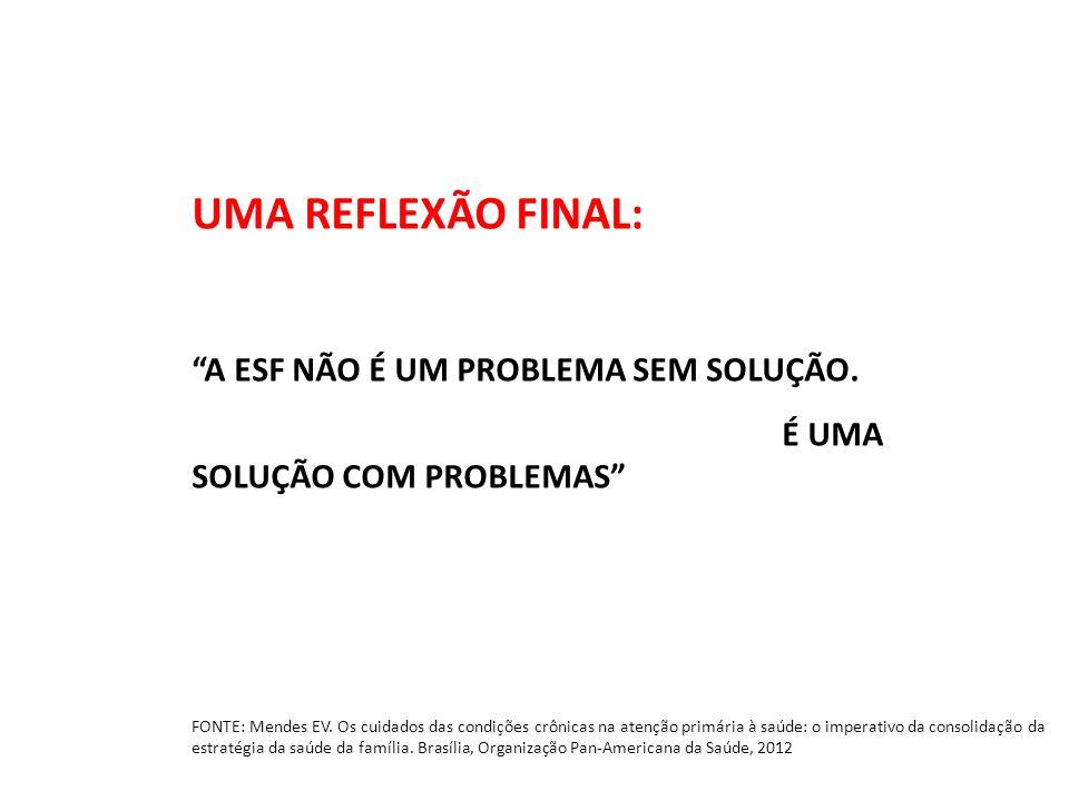 UMA REFLEXÃO FINAL: A ESF NÃO É UM PROBLEMA SEM SOLUÇÃO.