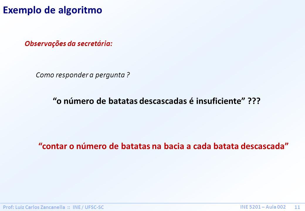 Prof: Luiz Carlos Zancanella :: INE / UFSC-SC 11 INE 5201 – Aula 002 Exemplo de algoritmo Observações da secretária: Como responder a pergunta ? o núm