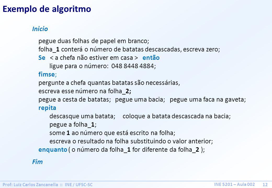 Prof: Luiz Carlos Zancanella :: INE / UFSC-SC 12 INE 5201 – Aula 002 Exemplo de algoritmo Inicio pegue duas folhas de papel em branco; folha_1 conterá