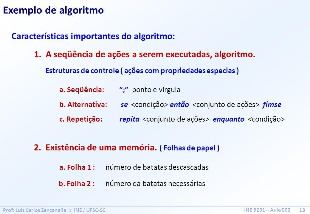 Prof: Luiz Carlos Zancanella :: INE / UFSC-SC 13 INE 5201 – Aula 002 Exemplo de algoritmo Características importantes do algoritmo: 1.