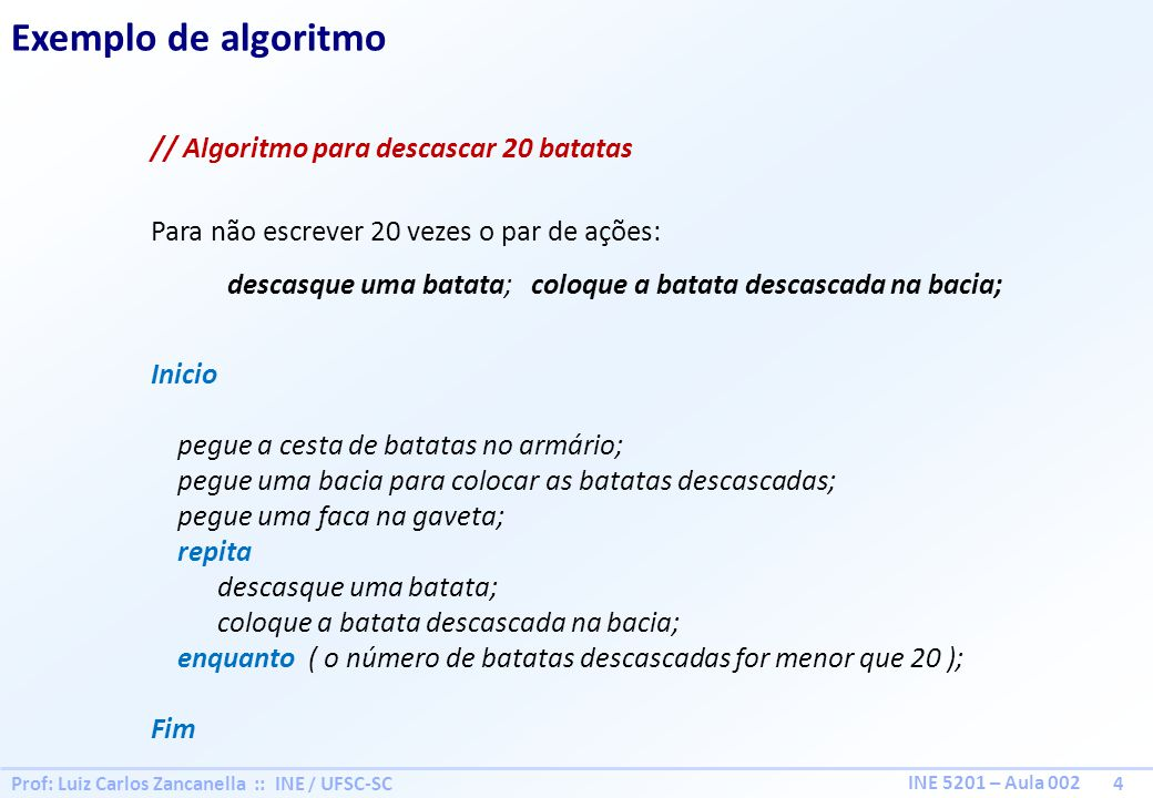 Prof: Luiz Carlos Zancanella :: INE / UFSC-SC 4 INE 5201 – Aula 002 Exemplo de algoritmo // Algoritmo para descascar 20 batatas Para não escrever 20 v