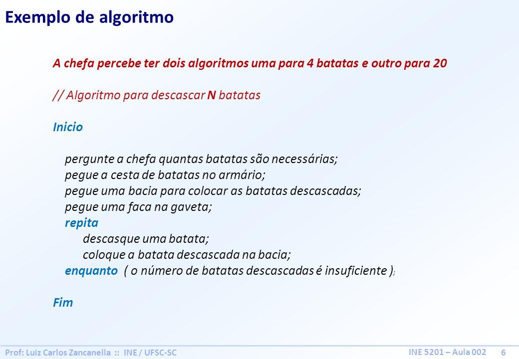Prof: Luiz Carlos Zancanella :: INE / UFSC-SC 6 INE 5201 – Aula 002 Exemplo de algoritmo A chefa percebe ter dois algoritmos uma para 4 batatas e outr