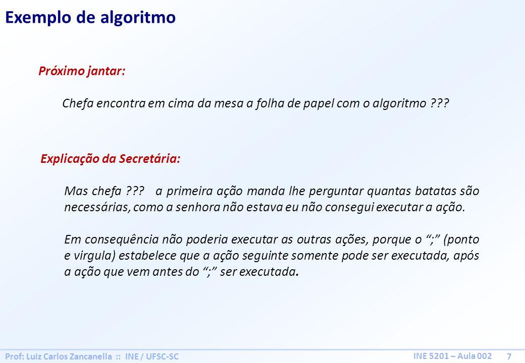 Prof: Luiz Carlos Zancanella :: INE / UFSC-SC 7 INE 5201 – Aula 002 Exemplo de algoritmo Próximo jantar: Chefa encontra em cima da mesa a folha de papel com o algoritmo ??.