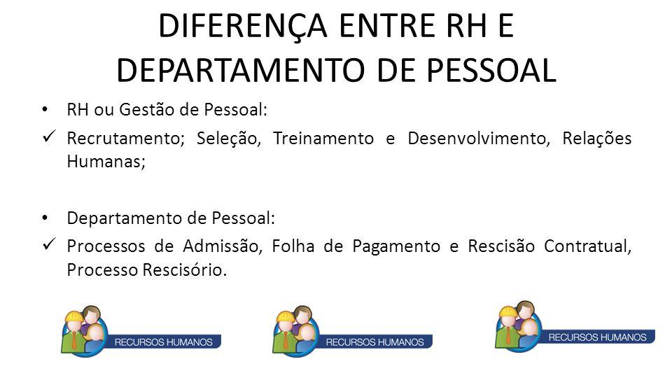 DIFERENÇA ENTRE RH E DEPARTAMENTO DE PESSOAL RH ou Gestão de Pessoal: Recrutamento; Seleção, Treinamento e Desenvolvimento, Relações Humanas; Departam