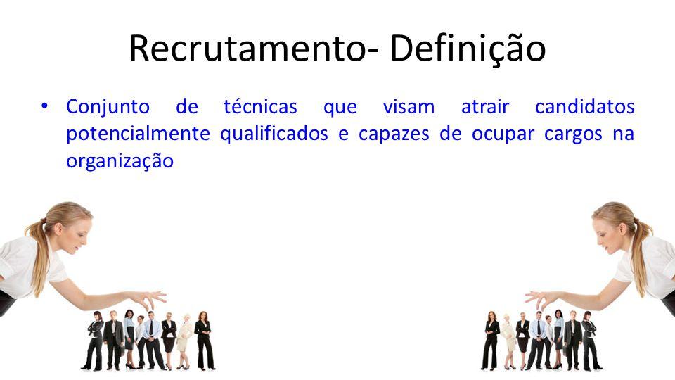 Recrutamento- Definição Conjunto de técnicas que visam atrair candidatos potencialmente qualificados e capazes de ocupar cargos na organização