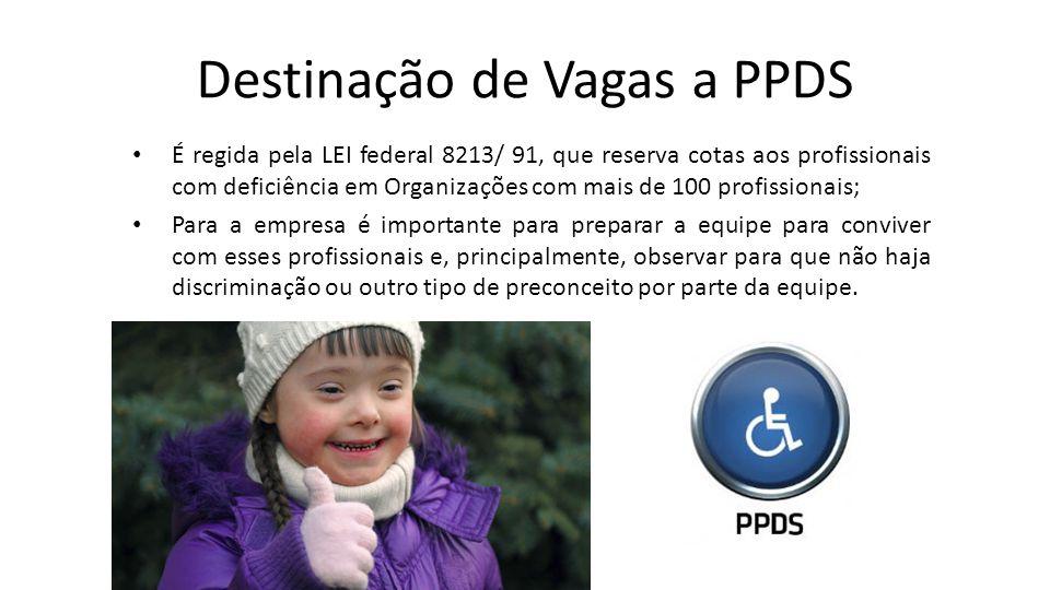 Destinação de Vagas a PPDS É regida pela LEI federal 8213/ 91, que reserva cotas aos profissionais com deficiência em Organizações com mais de 100 pro