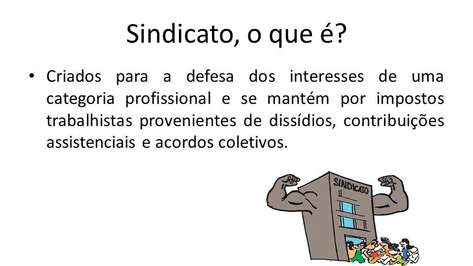 Sindicato, o que é? Criados para a defesa dos interesses de uma categoria profissional e se mantém por impostos trabalhistas provenientes de dissídios