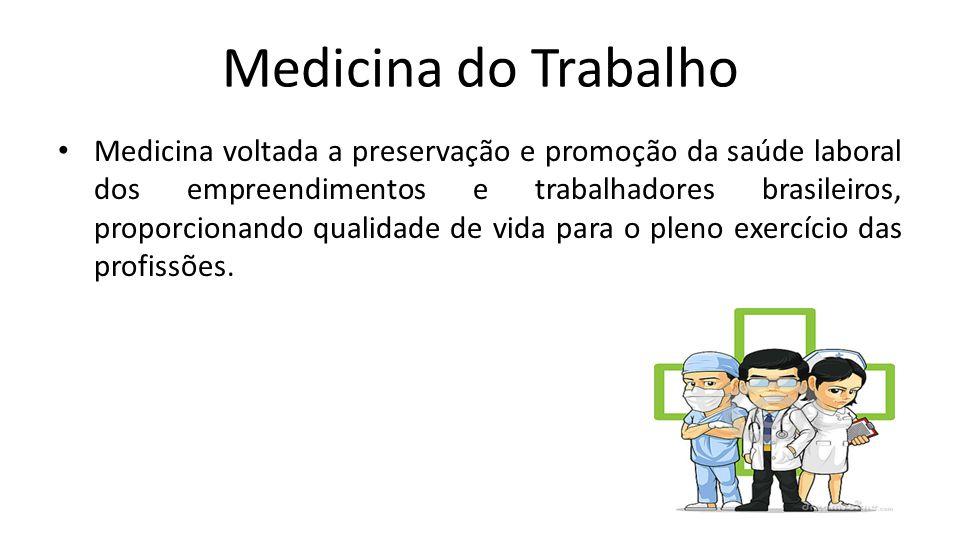 Medicina do Trabalho Medicina voltada a preservação e promoção da saúde laboral dos empreendimentos e trabalhadores brasileiros, proporcionando qualid