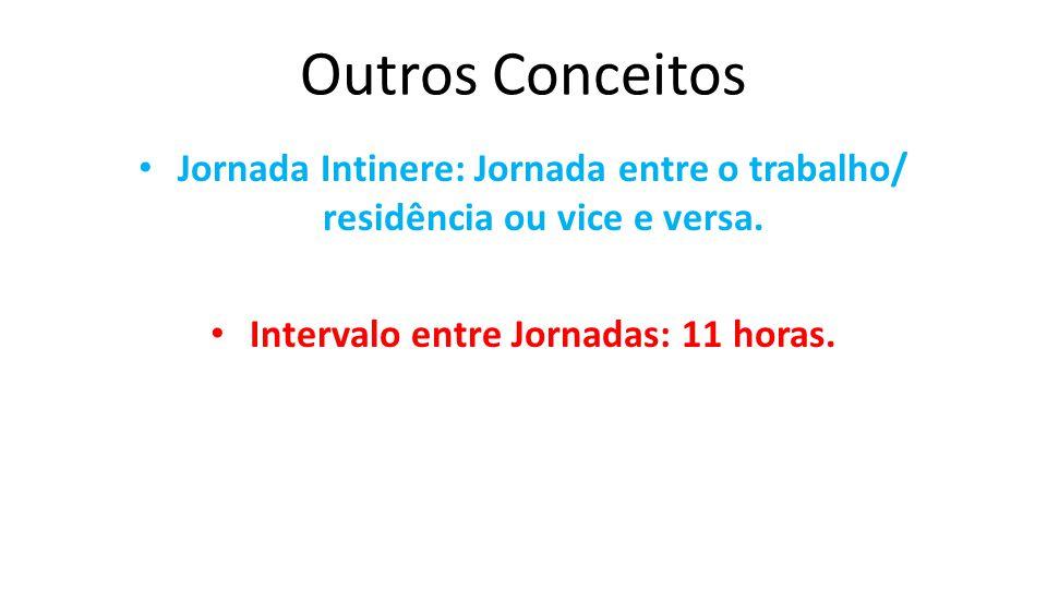 Outros Conceitos Jornada Intinere: Jornada entre o trabalho/ residência ou vice e versa. Intervalo entre Jornadas: 11 horas.