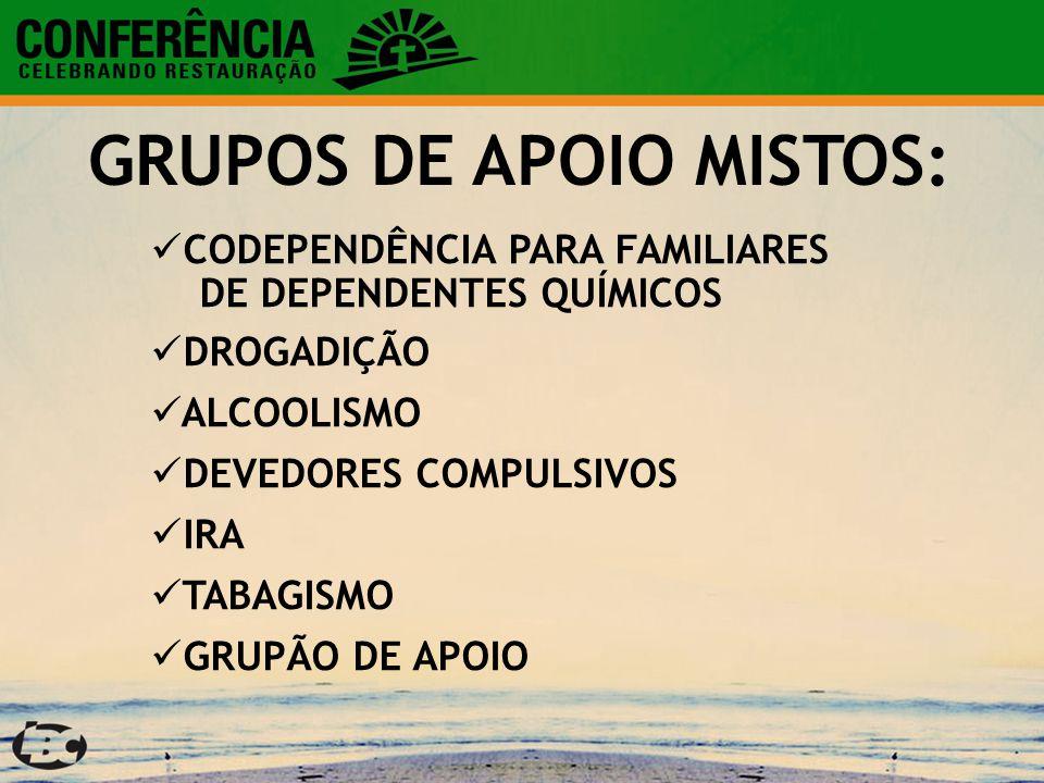 CODEPENDÊNCIA PARA FAMILIARES DE DEPENDENTES QUÍMICOS DROGADIÇÃO ALCOOLISMO DEVEDORES COMPULSIVOS IRA TABAGISMO GRUPÃO DE APOIO GRUPOS DE APOIO MISTOS