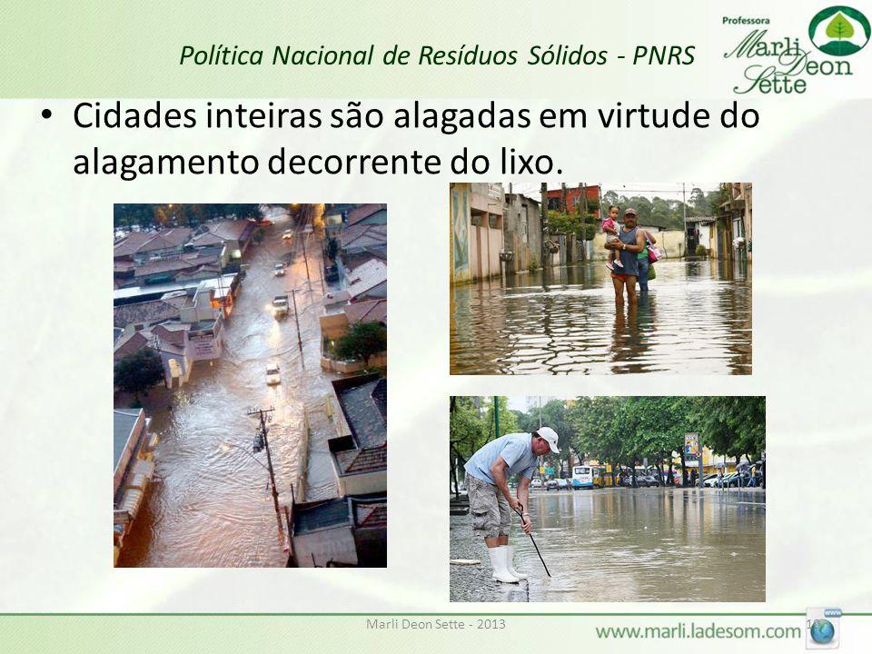 Marli Deon Sette - 201310 Política Nacional de Resíduos Sólidos - PNRS Cidades inteiras são alagadas em virtude do alagamento decorrente do lixo.