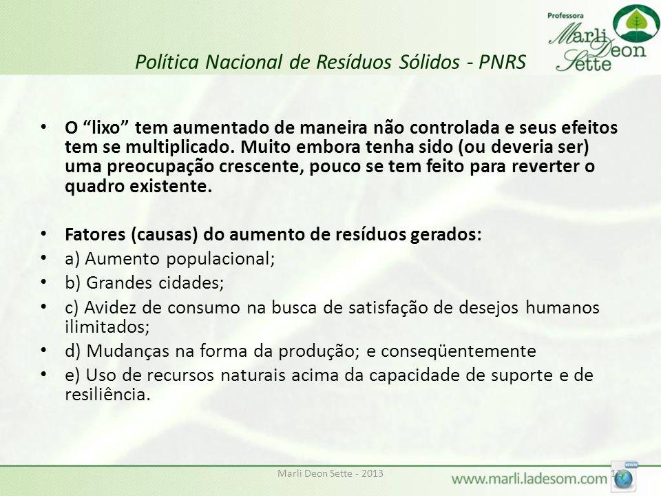 Marli Deon Sette - 201312 Política Nacional de Resíduos Sólidos - PNRS O lixo tem aumentado de maneira não controlada e seus efeitos tem se multiplicado.