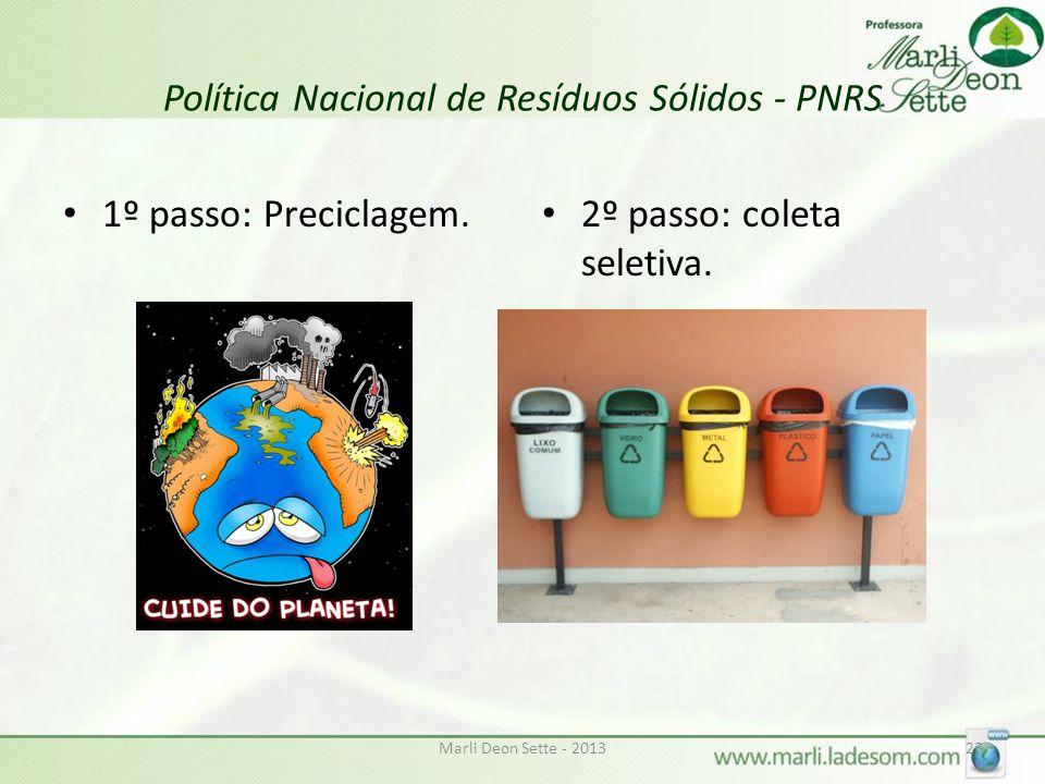 Marli Deon Sette - 201323 Política Nacional de Resíduos Sólidos - PNRS 1º passo: Preciclagem.