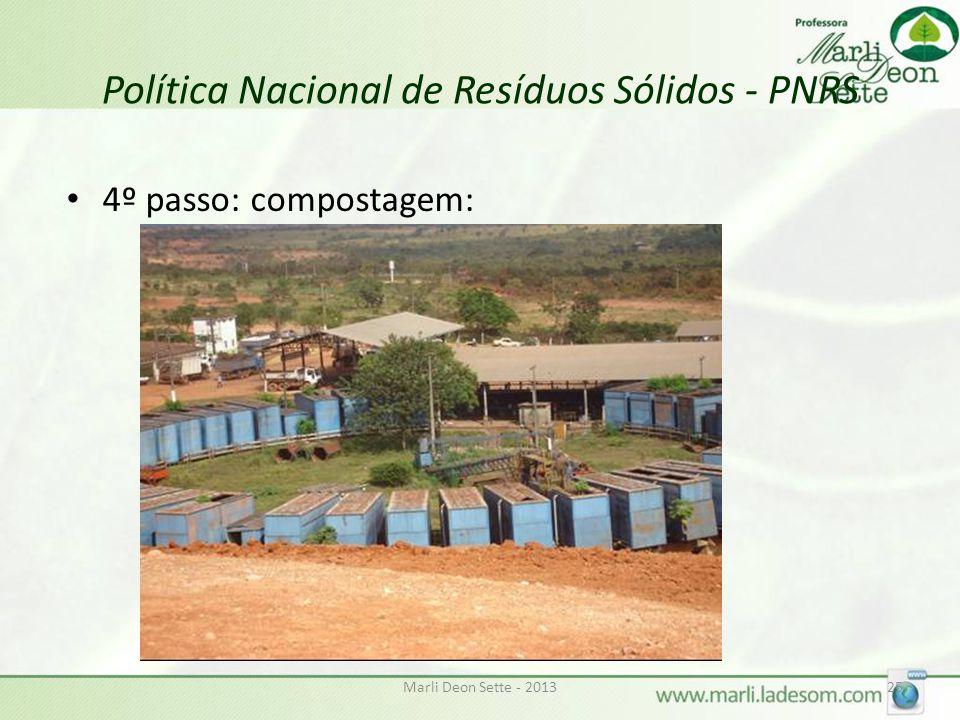 Marli Deon Sette - 201325 Política Nacional de Resíduos Sólidos - PNRS 4º passo: compostagem: