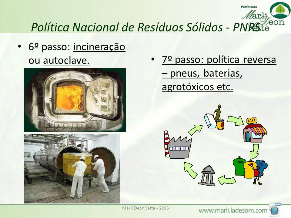 Marli Deon Sette - 201328 Política Nacional de Resíduos Sólidos - PNRS 6º passo: incineração ou autoclave.