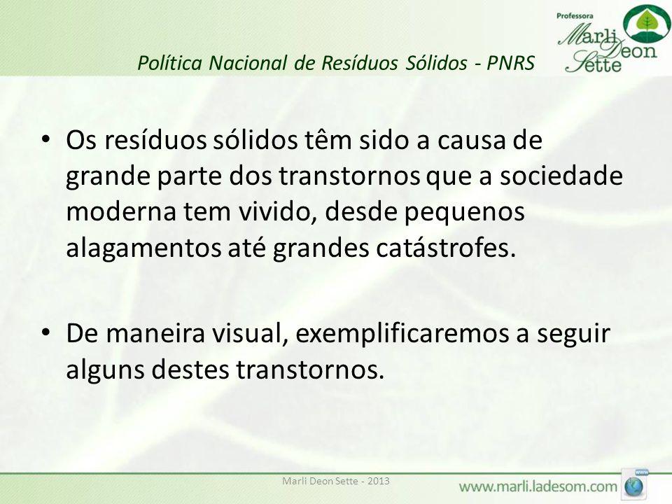 Política Nacional de Resíduos Sólidos - PNRS Os resíduos sólidos têm sido a causa de grande parte dos transtornos que a sociedade moderna tem vivido, desde pequenos alagamentos até grandes catástrofes.