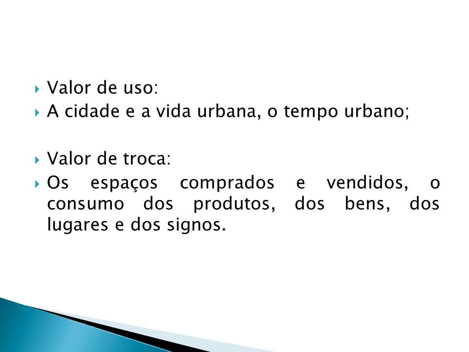 Valor de uso: A cidade e a vida urbana, o tempo urbano; Valor de troca: Os espaços comprados e vendidos, o consumo dos produtos, dos bens, dos lugares