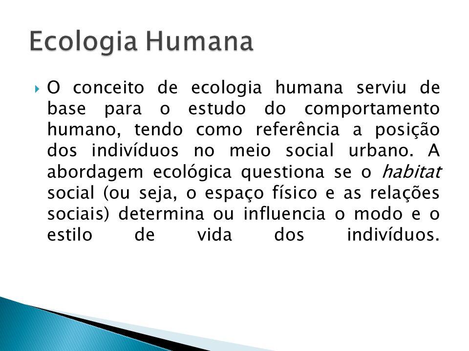 O conceito de ecologia humana serviu de base para o estudo do comportamento humano, tendo como referência a posição dos indivíduos no meio social urba
