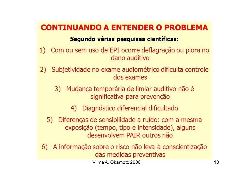 Vilma A. Okamoto 200810 CONTINUANDO A ENTENDER O PROBLEMA Segundo várias pesquisas científicas: 1)Com ou sem uso de EPI ocorre deflagração ou piora no