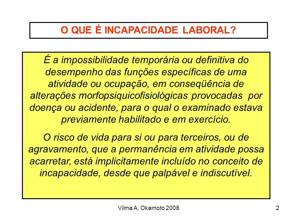 Vilma A. Okamoto 20082 O QUE É INCAPACIDADE LABORAL? É a impossibilidade temporária ou definitiva do desempenho das funções específicas de uma ativida