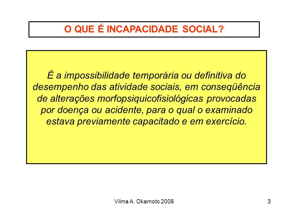 Vilma A. Okamoto 20083 O QUE É INCAPACIDADE SOCIAL? É a impossibilidade temporária ou definitiva do desempenho das atividade sociais, em conseqüência