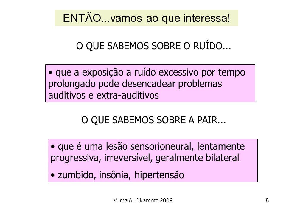 Vilma A. Okamoto 20085 O QUE SABEMOS SOBRE O RUÍDO... que a exposição a ruído excessivo por tempo prolongado pode desencadear problemas auditivos e ex