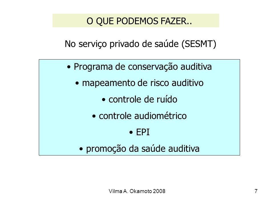 Vilma A. Okamoto 20087 O QUE PODEMOS FAZER.. No serviço privado de saúde (SESMT) Programa de conservação auditiva mapeamento de risco auditivo control