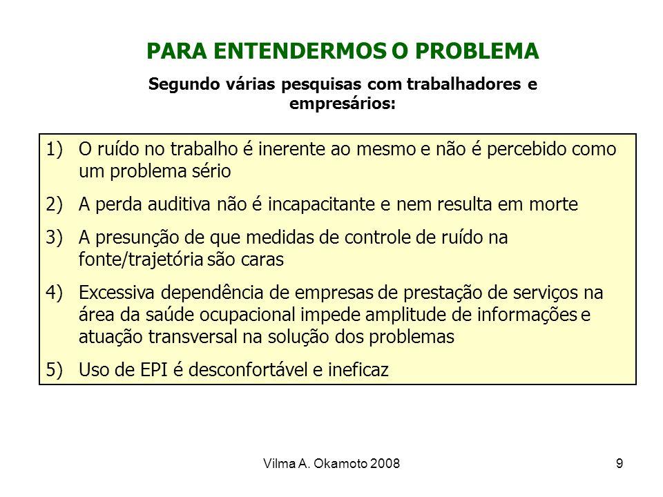 Vilma A. Okamoto 20089 1)O ruído no trabalho é inerente ao mesmo e não é percebido como um problema sério 2)A perda auditiva não é incapacitante e nem
