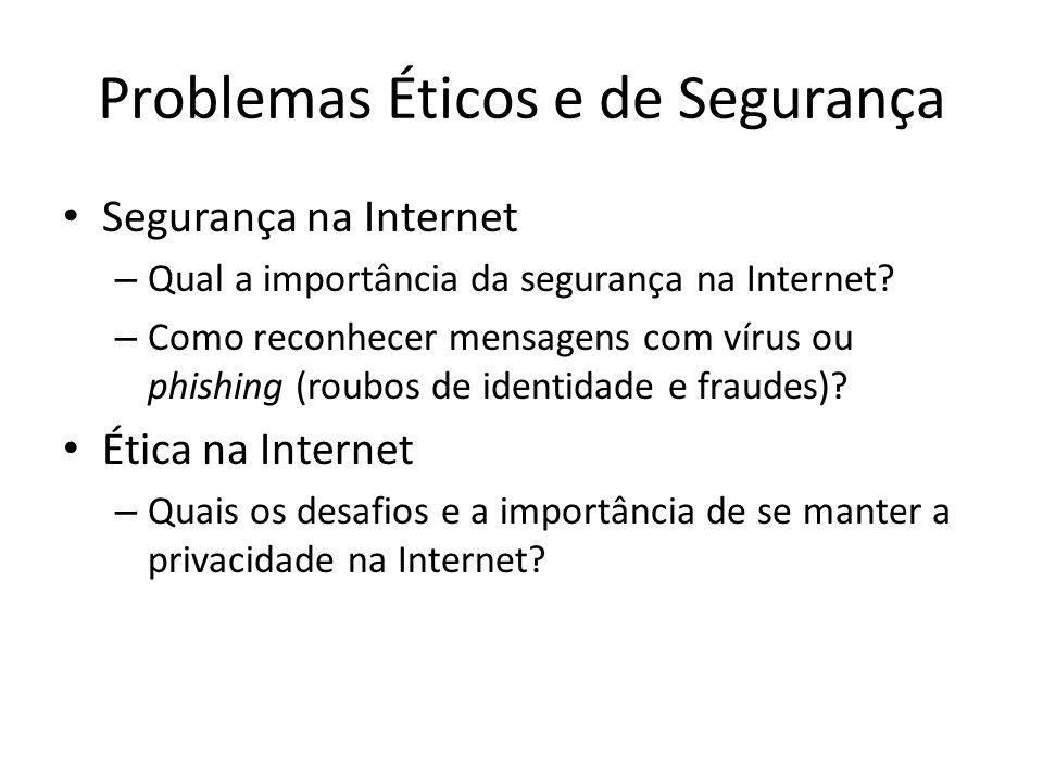 Problemas Éticos e de Segurança Segurança na Internet – Qual a importância da segurança na Internet? – Como reconhecer mensagens com vírus ou phishing