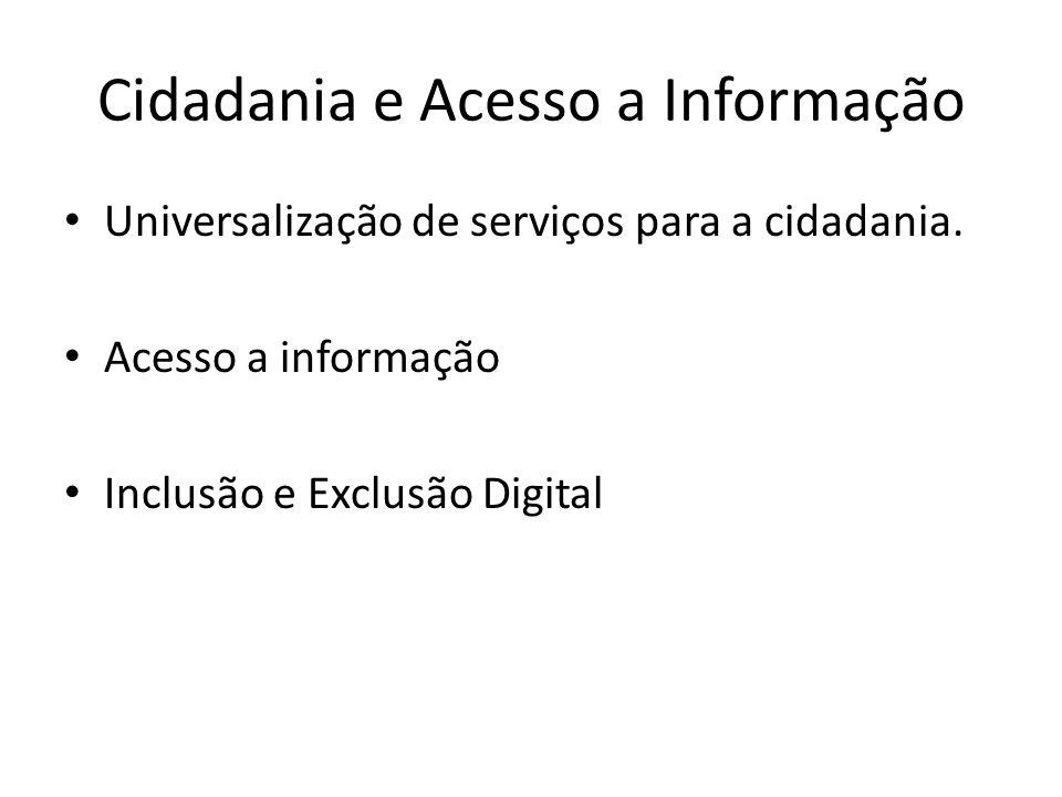 Cidadania e Acesso a Informação Universalização de serviços para a cidadania. Acesso a informação Inclusão e Exclusão Digital