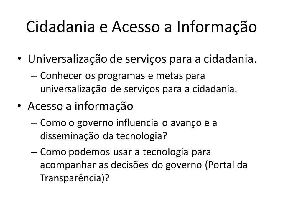 Cidadania e Acesso a Informação Universalização de serviços para a cidadania. – Conhecer os programas e metas para universalização de serviços para a