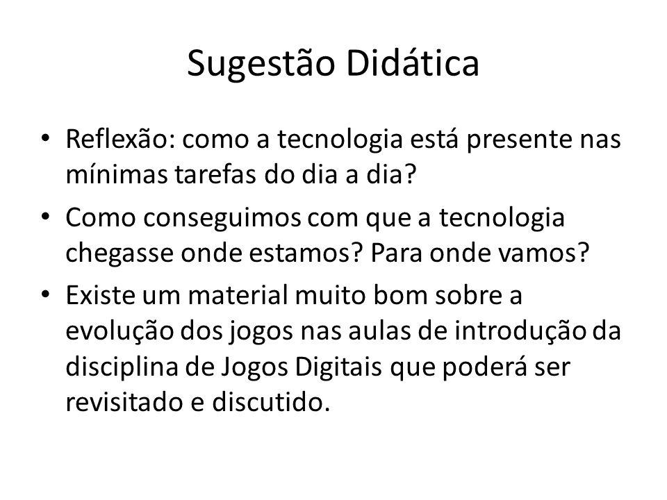 Sugestão Didática Reflexão: como a tecnologia está presente nas mínimas tarefas do dia a dia? Como conseguimos com que a tecnologia chegasse onde esta