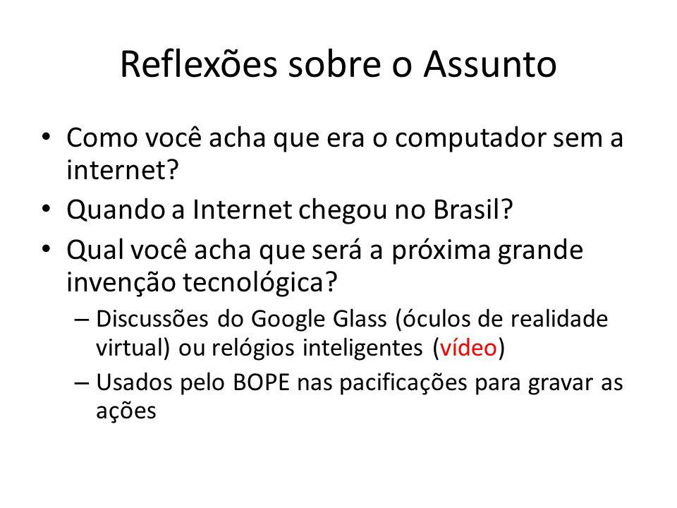 Reflexões sobre o Assunto Como você acha que era o computador sem a internet? Quando a Internet chegou no Brasil? Qual você acha que será a próxima gr