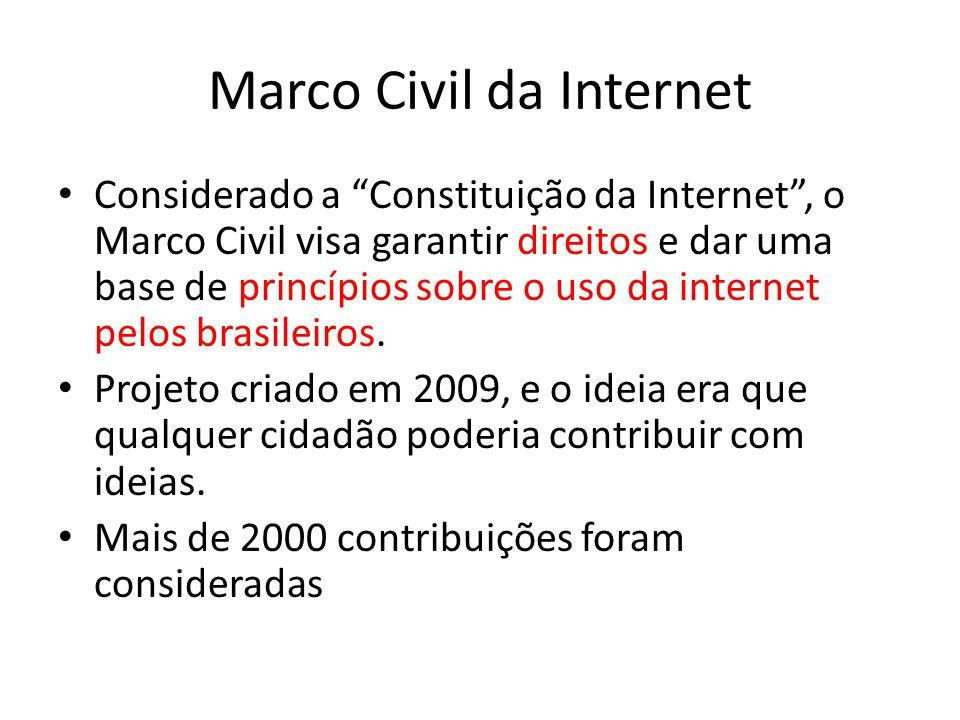 Marco Civil da Internet Considerado a Constituição da Internet, o Marco Civil visa garantir direitos e dar uma base de princípios sobre o uso da internet pelos brasileiros.