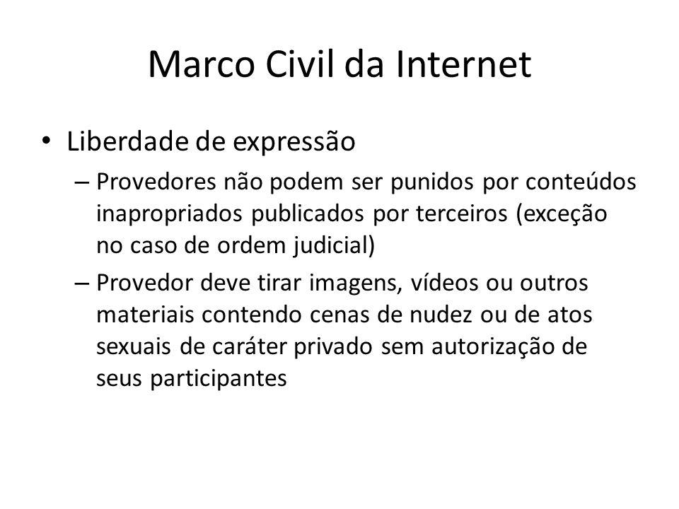 Marco Civil da Internet Liberdade de expressão – Provedores não podem ser punidos por conteúdos inapropriados publicados por terceiros (exceção no cas