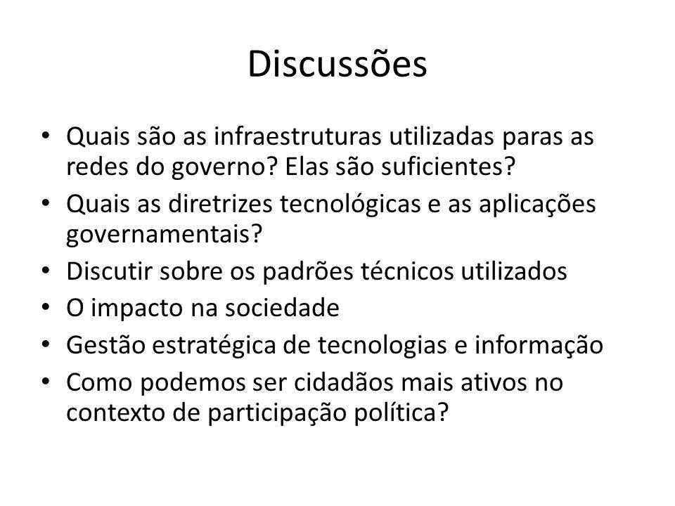 Discussões Quais são as infraestruturas utilizadas paras as redes do governo? Elas são suficientes? Quais as diretrizes tecnológicas e as aplicações g