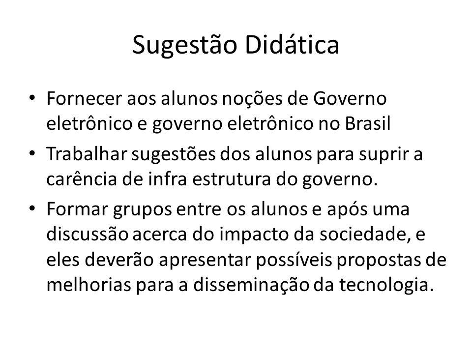 Sugestão Didática Fornecer aos alunos noções de Governo eletrônico e governo eletrônico no Brasil Trabalhar sugestões dos alunos para suprir a carência de infra estrutura do governo.