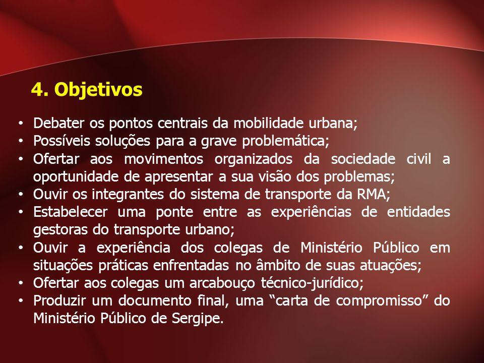 Debater os pontos centrais da mobilidade urbana; Possíveis soluções para a grave problemática; Ofertar aos movimentos organizados da sociedade civil a