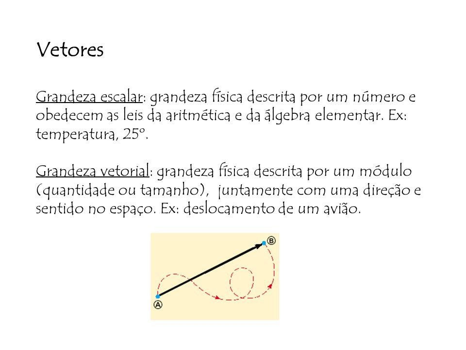 Vetores Grandeza escalar: grandeza física descrita por um número e obedecem as leis da aritmética e da álgebra elementar.