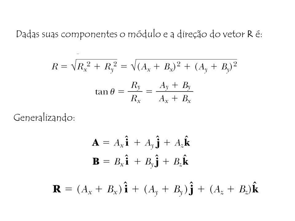Dadas suas componentes o módulo e a direção do vetor R é: Generalizando:
