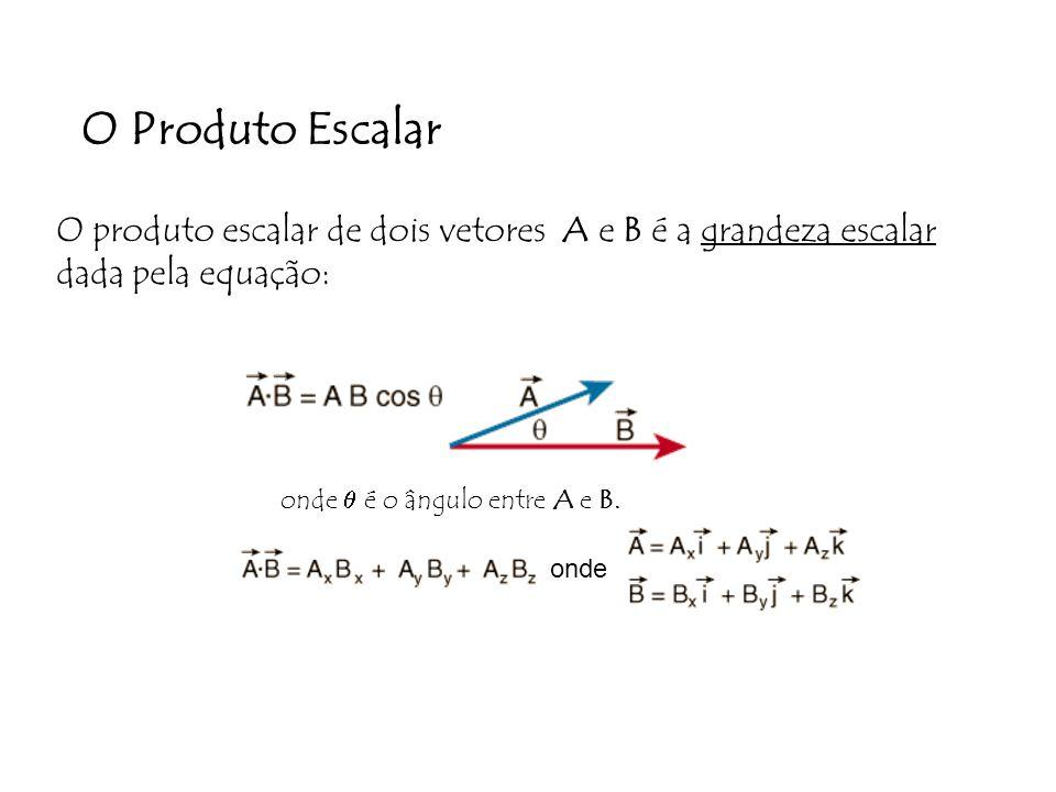 O Produto Escalar O produto escalar de dois vetores A e B é a grandeza escalar dada pela equação: onde onde é o ângulo entre A e B.