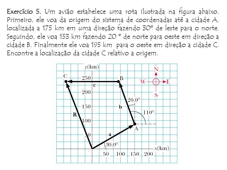 Exercício 5.Um aviáo estabelece uma rota ilustrada na figura abaixo.