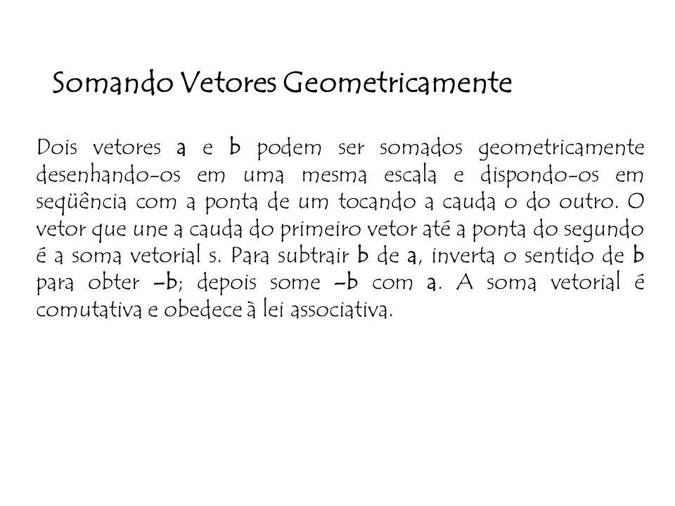 Somando Vetores Geometricamente Dois vetores a e b podem ser somados geometricamente desenhando-os em uma mesma escala e dispondo-os em seqüência com a ponta de um tocando a cauda o do outro.