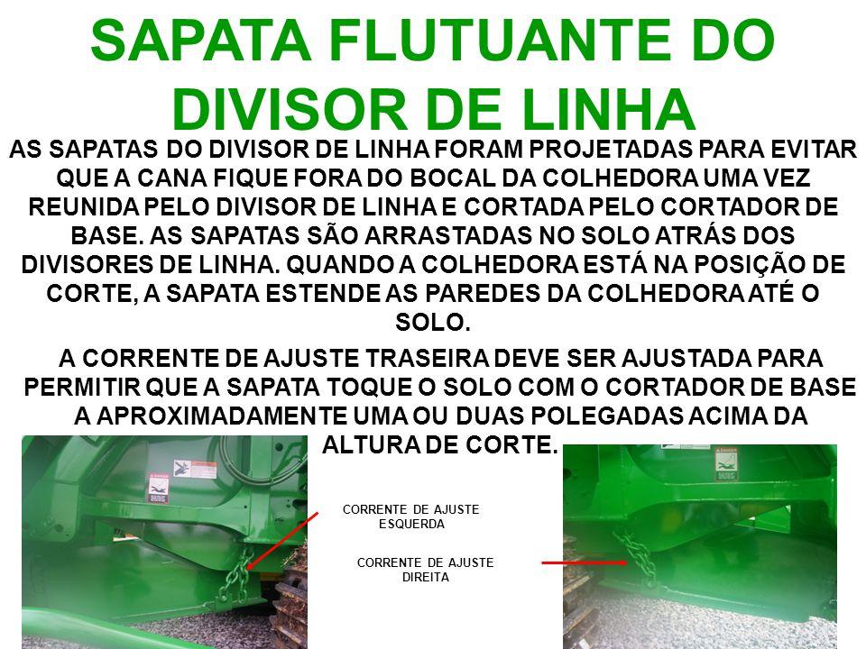SAPATA FLUTUANTE DO DIVISOR DE LINHA AS SAPATAS DO DIVISOR DE LINHA FORAM PROJETADAS PARA EVITAR QUE A CANA FIQUE FORA DO BOCAL DA COLHEDORA UMA VEZ REUNIDA PELO DIVISOR DE LINHA E CORTADA PELO CORTADOR DE BASE.