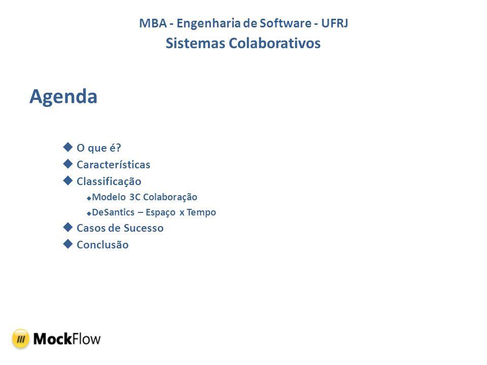 MBA - Engenharia de Software - UFRJ Sistemas Colaborativos Agenda O que é? Características Classificação Modelo 3C Colaboração DeSantics – Espaço x Te