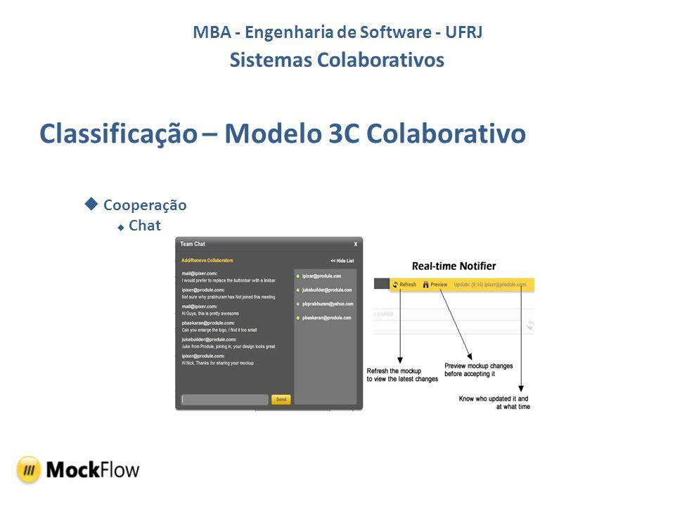 MBA - Engenharia de Software - UFRJ Sistemas Colaborativos Classificação – Modelo 3C Colaborativo Coordenação Gerência de Colaboradores
