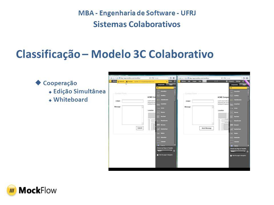 MBA - Engenharia de Software - UFRJ Sistemas Colaborativos Classificação – Modelo DeSanctis(Espaço x Tempo) Espaço Distribuído com interações síncronas Versão Online Espaço Distribuído com interações assíncronas Versão Desktop
