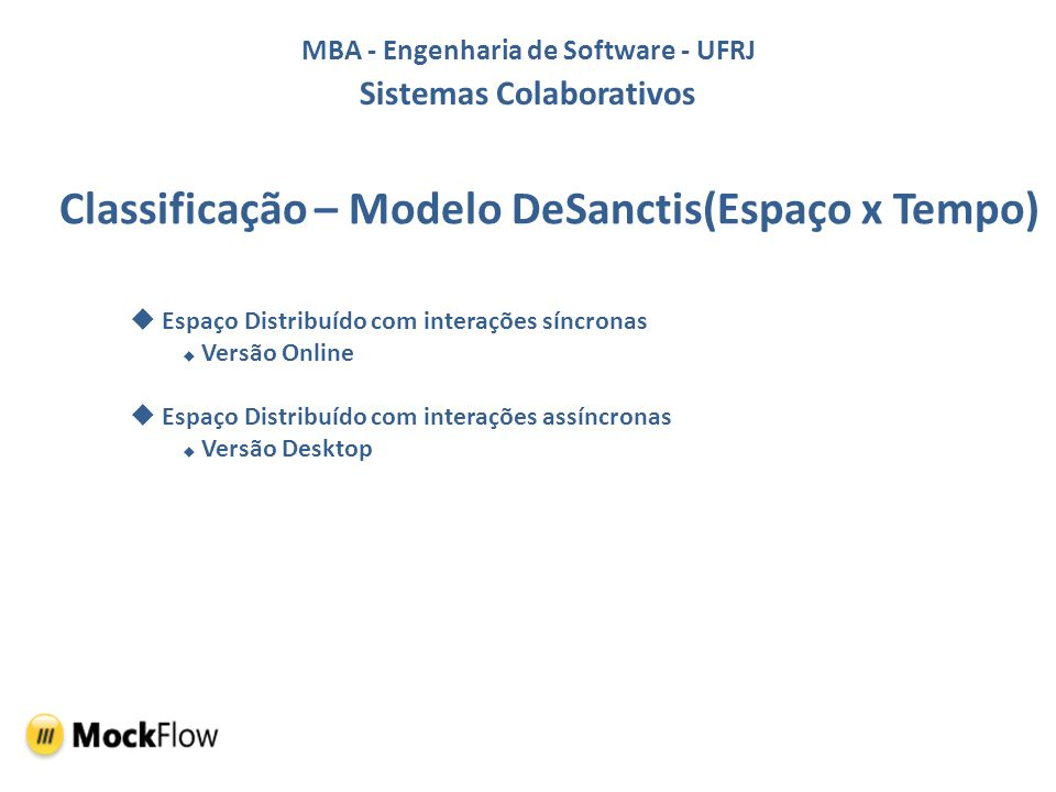 MBA - Engenharia de Software - UFRJ Sistemas Colaborativos Classificação – Modelo DeSanctis(Espaço x Tempo) Espaço Distribuído com interações síncrona