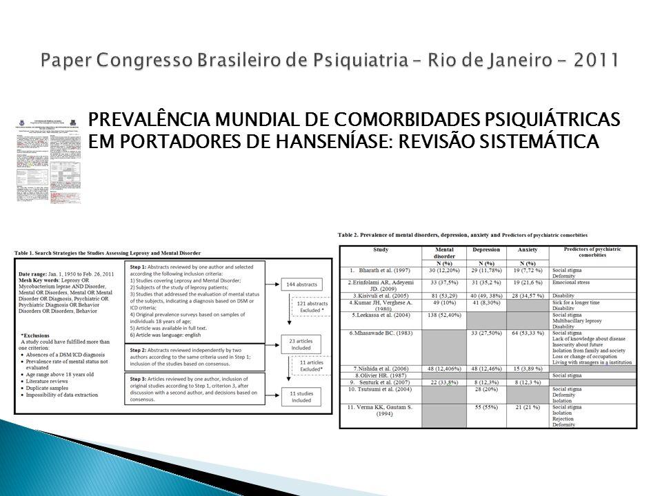 PREVALÊNCIA MUNDIAL DE COMORBIDADES PSIQUIÁTRICAS EM PORTADORES DE HANSENÍASE: REVISÃO SISTEMÁTICA