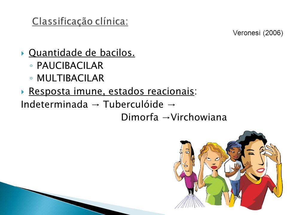 Quantidade de bacilos. PAUCIBACILAR MULTIBACILAR Resposta imune, estados reacionais: Indeterminada Tuberculóide Dimorfa Virchowiana Veronesi (2006)